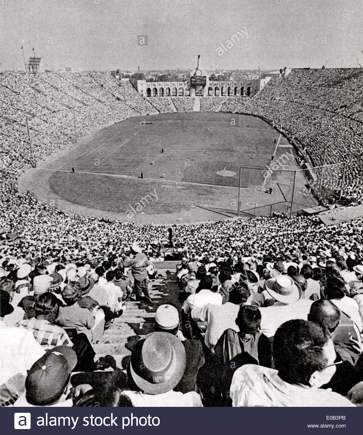 American stadium full of spectators  in early 1930's - Stock Image