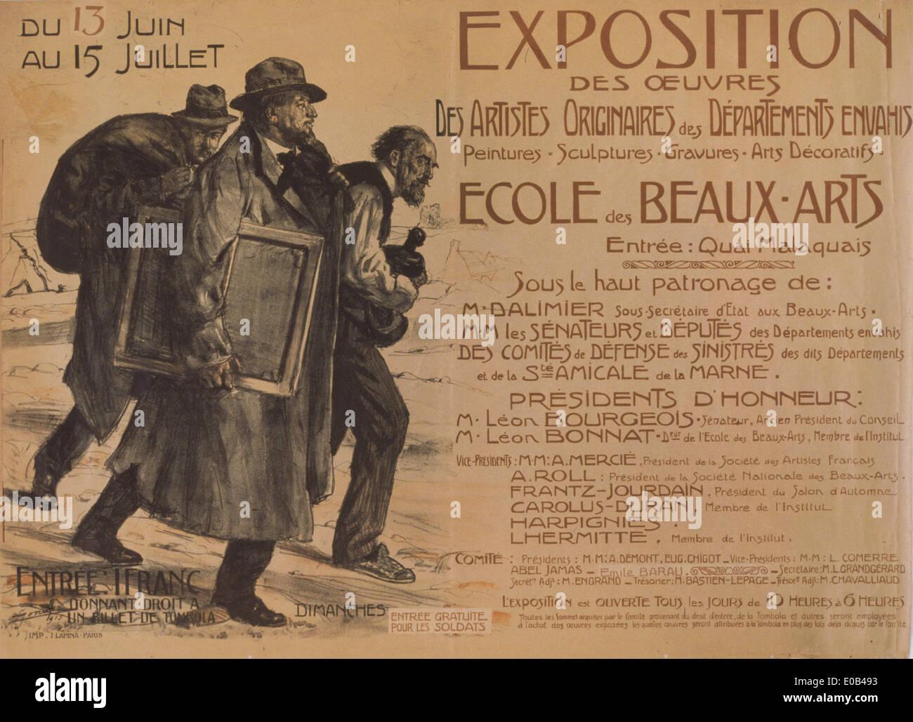 Exposition des oeuvres des artistes originaires des Départements envahis. École des Beaux-Arts - Stock Image