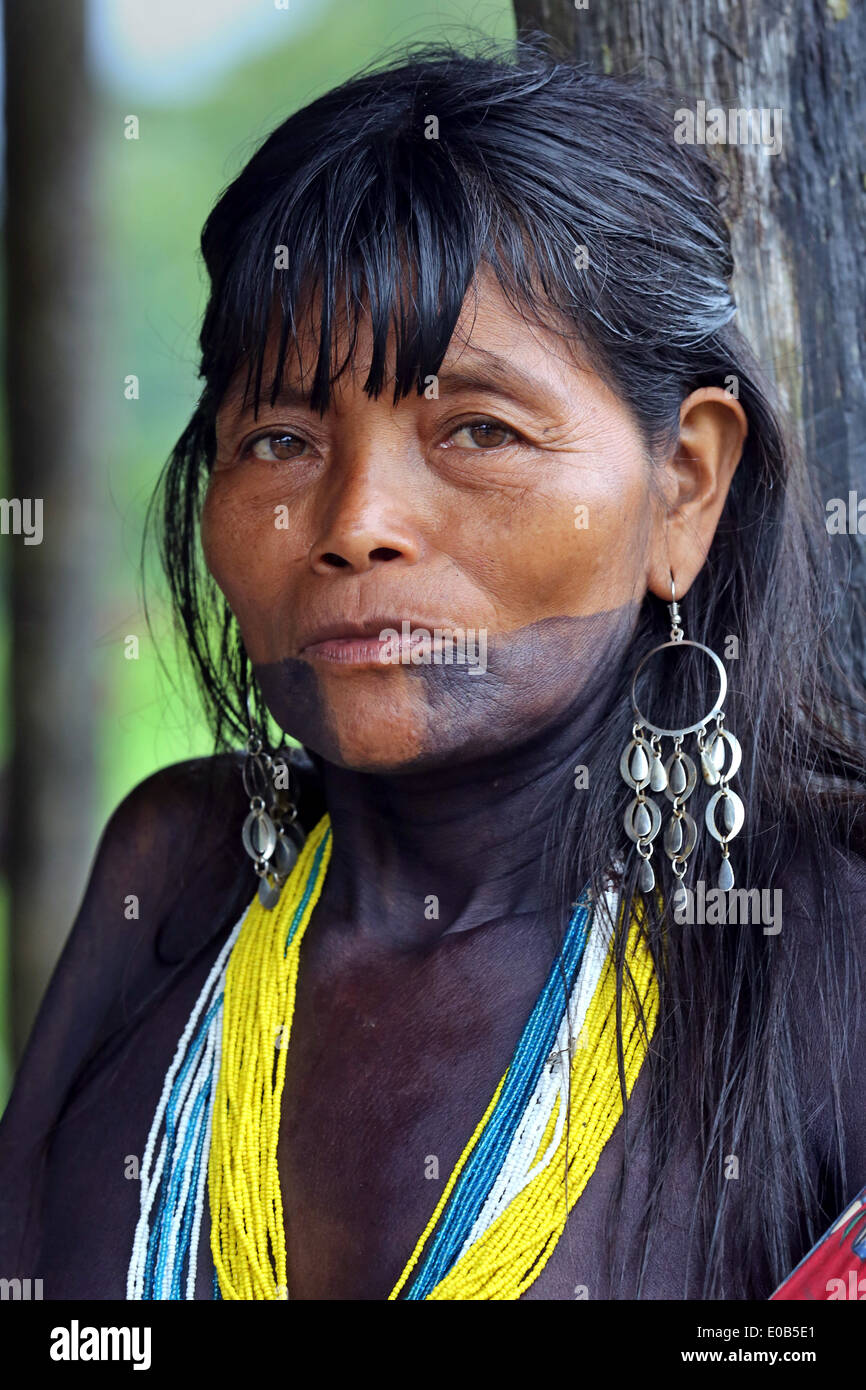 856bf08de Woman with tribal face tattoo and paintings. Jungle village Puerto Alegre  Nauca, Choco province, Colombia
