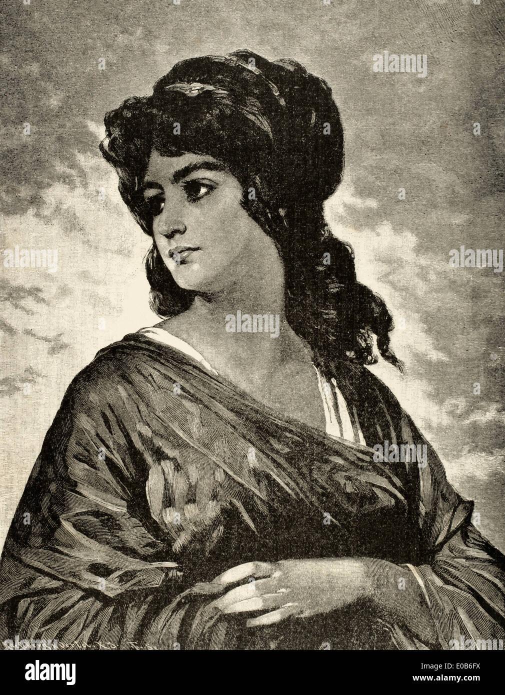 Lucretia (d.510 BC). Wife of Lucius Tarquinius Collatinus. Engraving by Kaesenberg & Oertel. The Illustration, 1884. Stock Photo