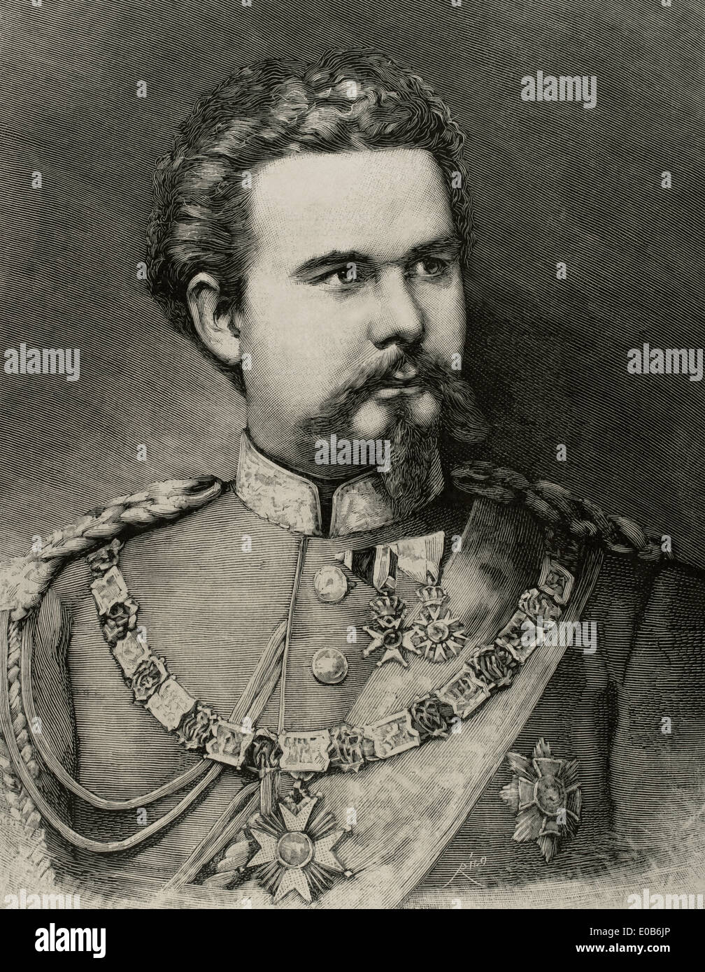 Ludwig II of Bavaria (1845-1886). Engraving by Rico. The Spanish and American Illustration, 1886. - Stock Image