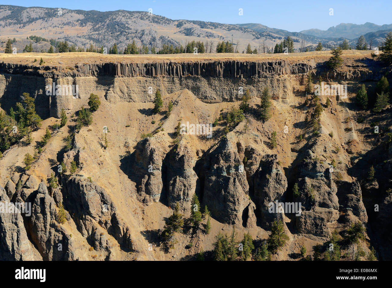 Columnar basalt formations near Tower Fall, Yellowstone national park, Wyoming, USA - Stock Image