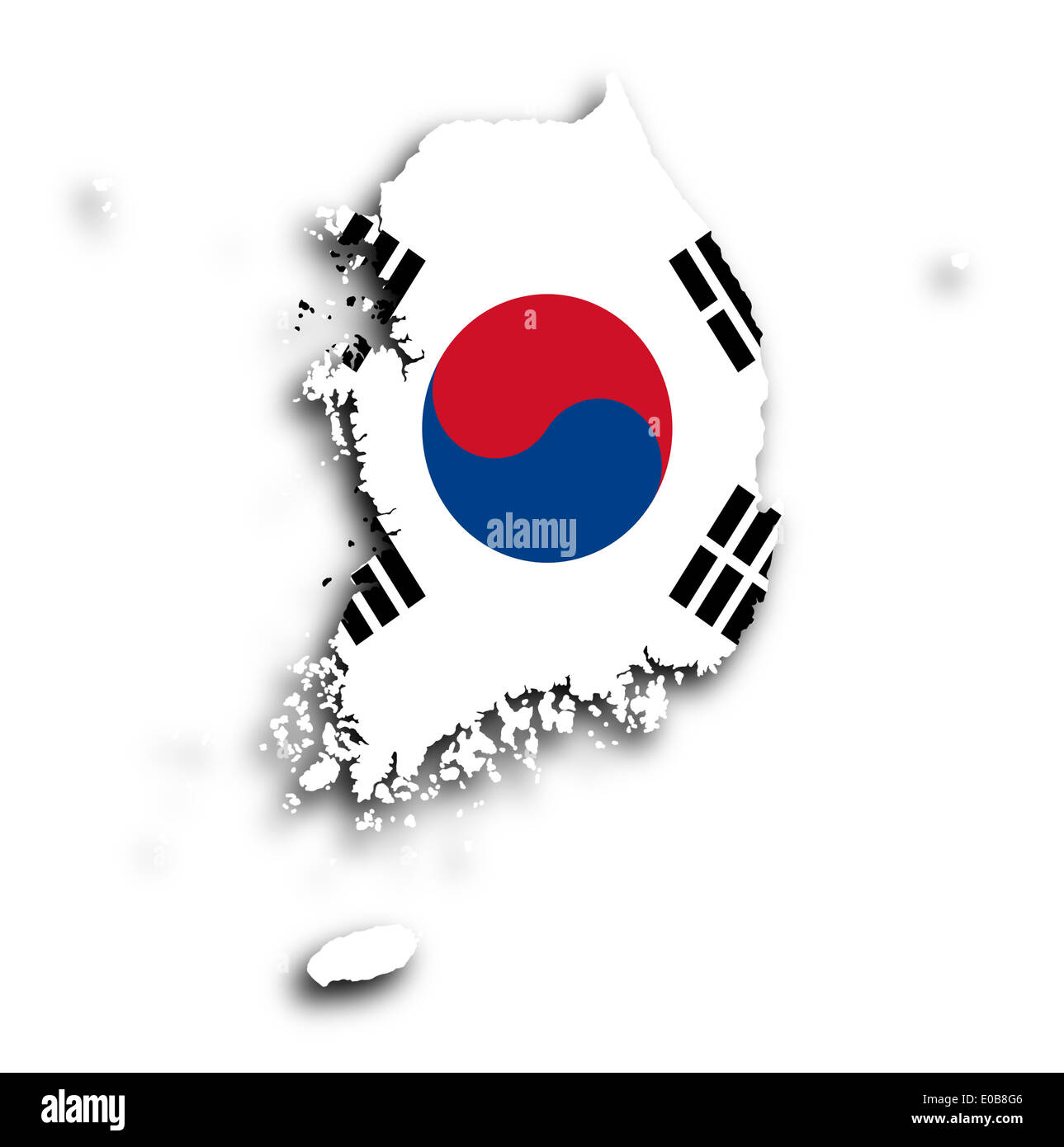 Map of South Korea with flag inside isolated Stock Photo: 69089670 South Korea Map Flag on