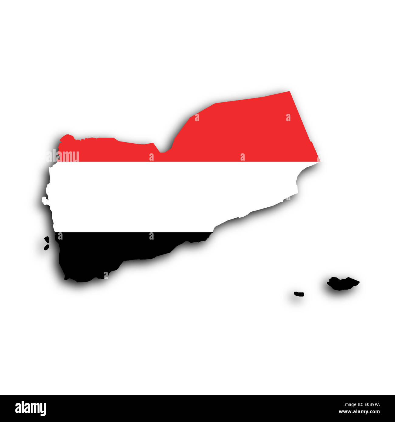 Map of Yemen filled with the national flag - Stock Image