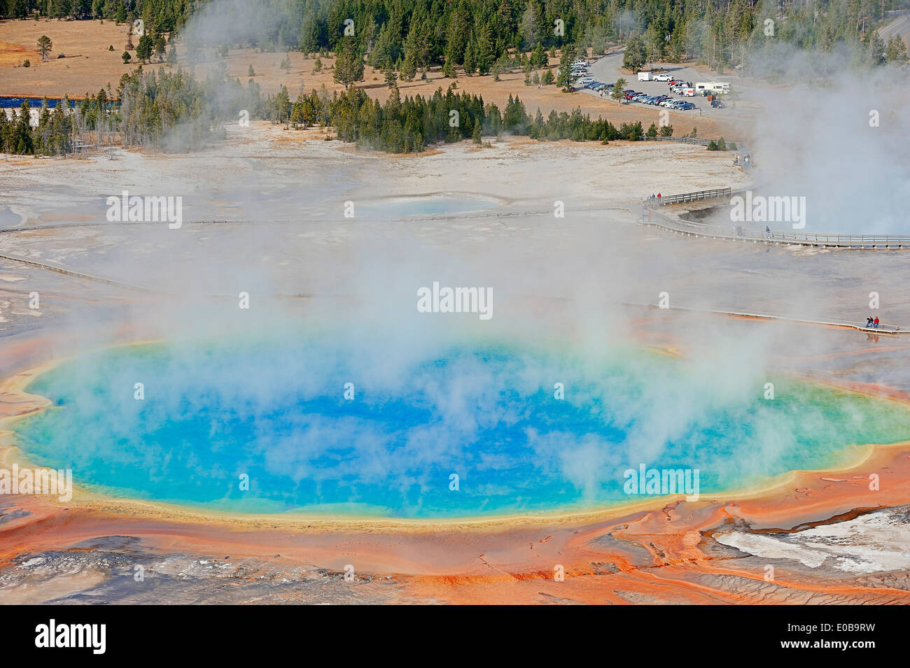 Grand Prismatic Spring, Midway Geyser Basin, Yellowstone national park, USA - Stock Image