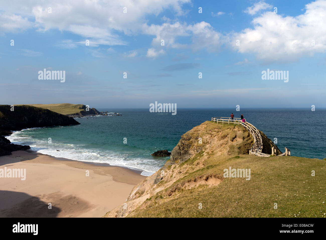 People Enjoying the View from the Viewpoint at Sango Bay Durness Scotland - Stock Image