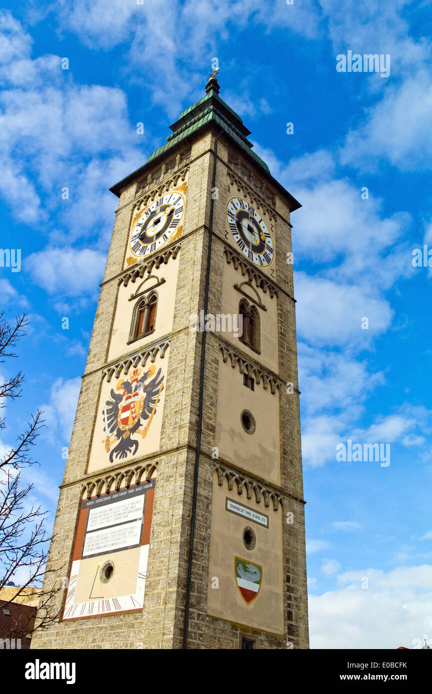 """Austria, Oberoesttereich, Enns. Of the Ennser of town tower on the main square of Enns"""", """"oesterreich, Enns. Der Stock Photo"""