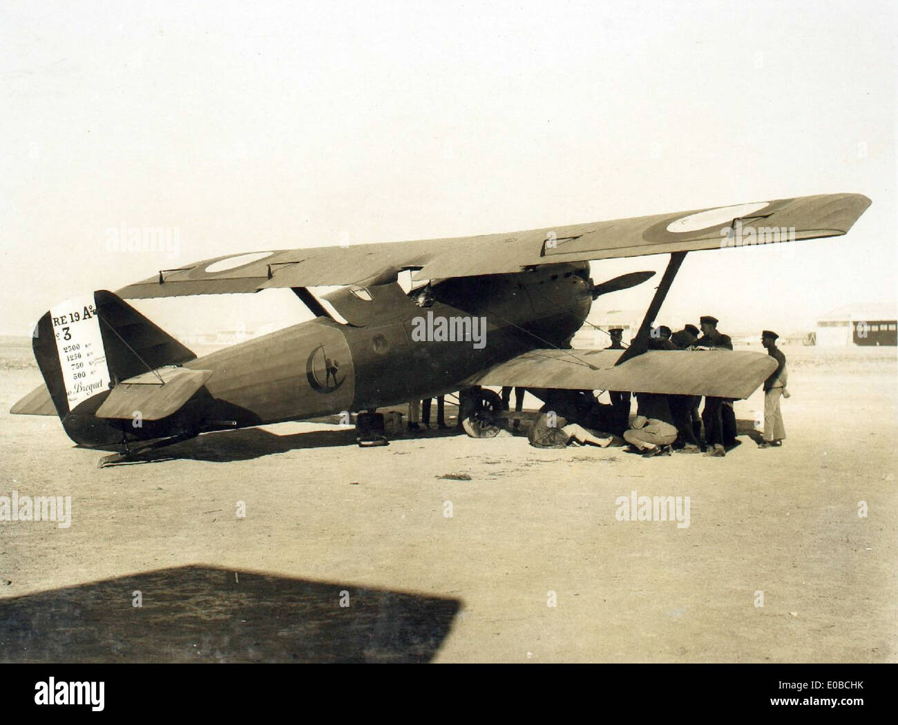 French long distance machine. Hinaidi Aerodrome Pelletier d'Oisy Breguet 19 - Stock Image