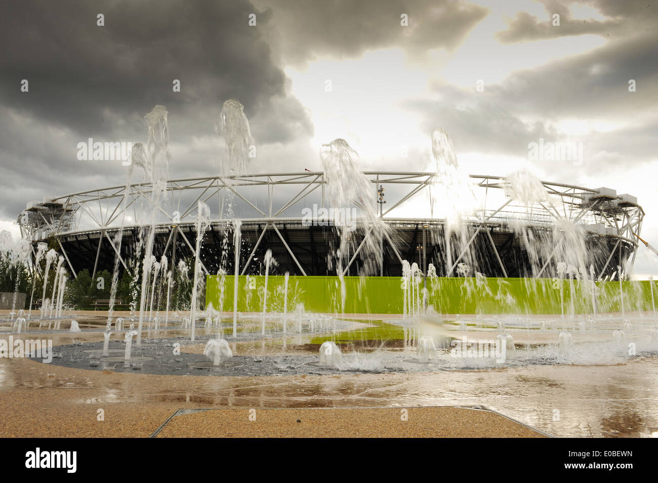 a general view of the Olympic Stadium inside the Queen Elizabeth Olympic Park in Stratford, London - Stock Image