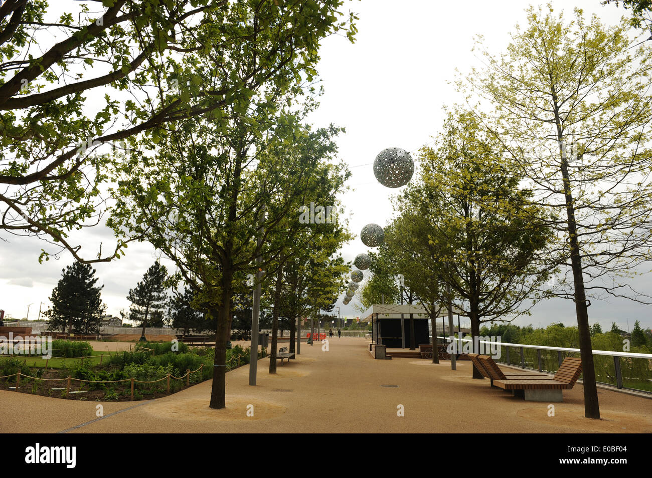 LONDON, ENGLAND - Wednesday 7 May 2014, a general view of the Queen Elizabeth Olympic Park in Stratford, London - Stock Image