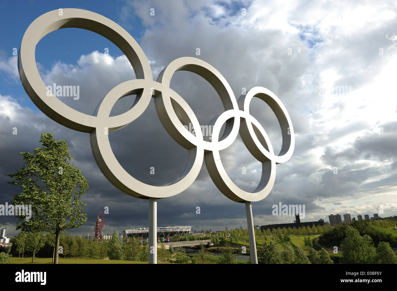 LONDON, ENGLAND - Wednesday 7 May 2014, a general view of the Olympic Rings inside the Queen Elizabeth Olympic Park in Stratford - Stock Image