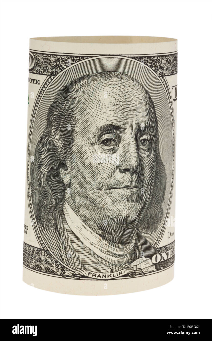 American dollar of bank note isolates before white background, Amerikanischer Dollar Geldschein isoliert vor weissem Hintergrund - Stock Image