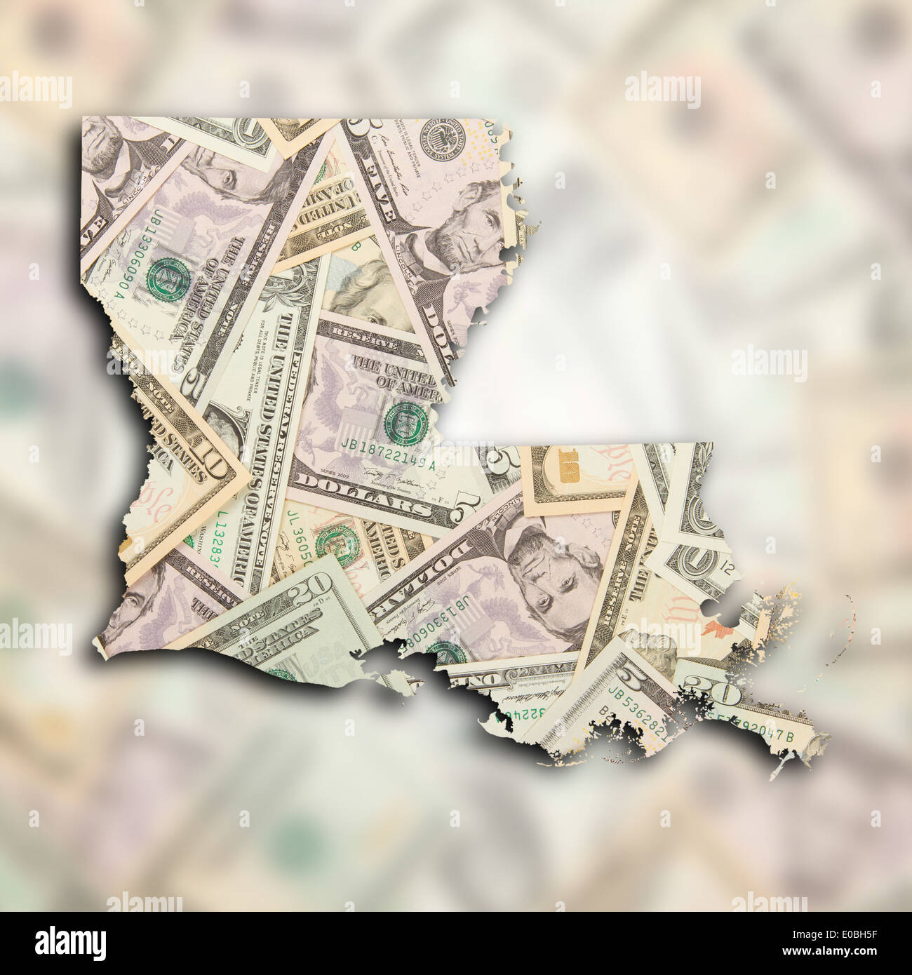 Map of Louisiana filled with US dollars Stock Photo: 69096427 - Alamy