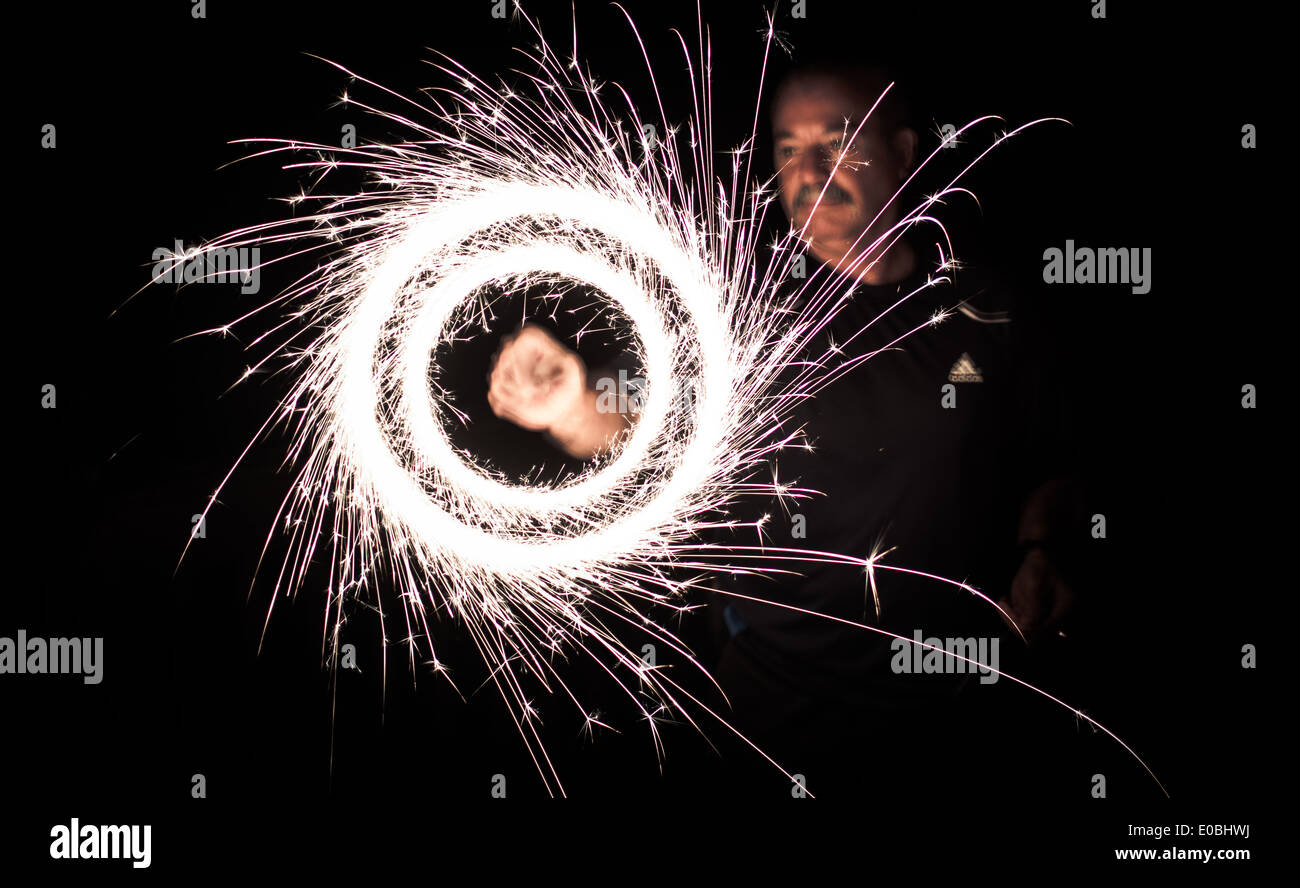 Fourth of July Sparklers - Fireworks - Stock Image