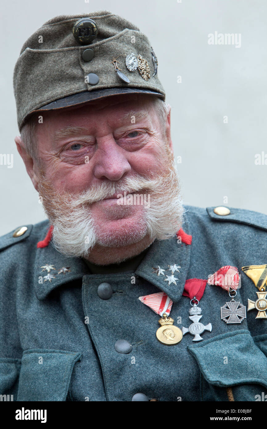 Decorated elderly man in the uniform of the Austro-Hungarian soldier Stock Photo