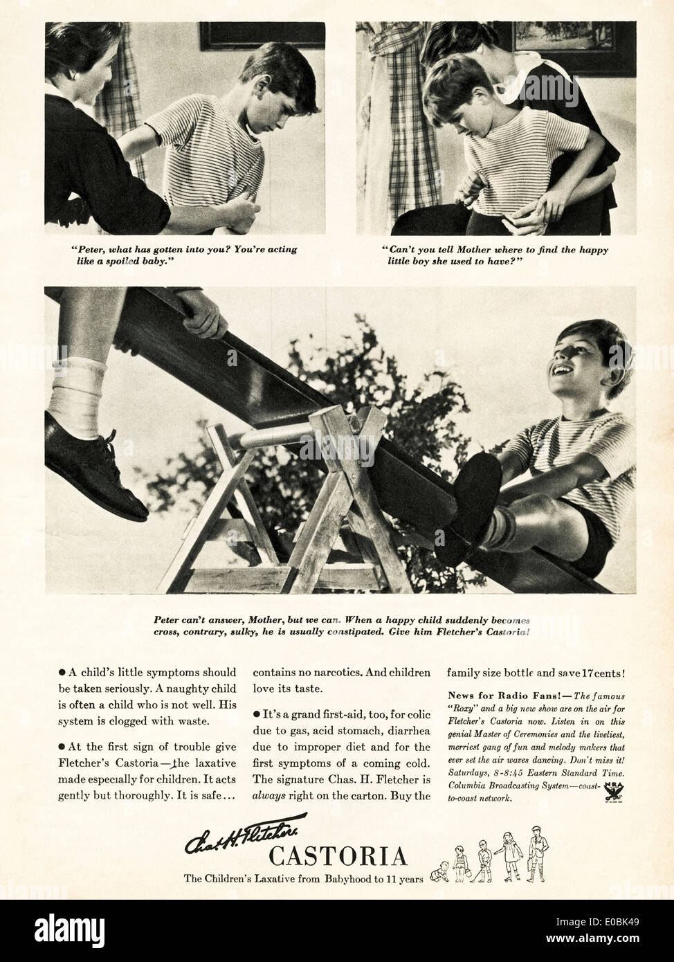 Advertisement for CASTORIA laxative for children in American magazine dated December 1934 - Stock Image