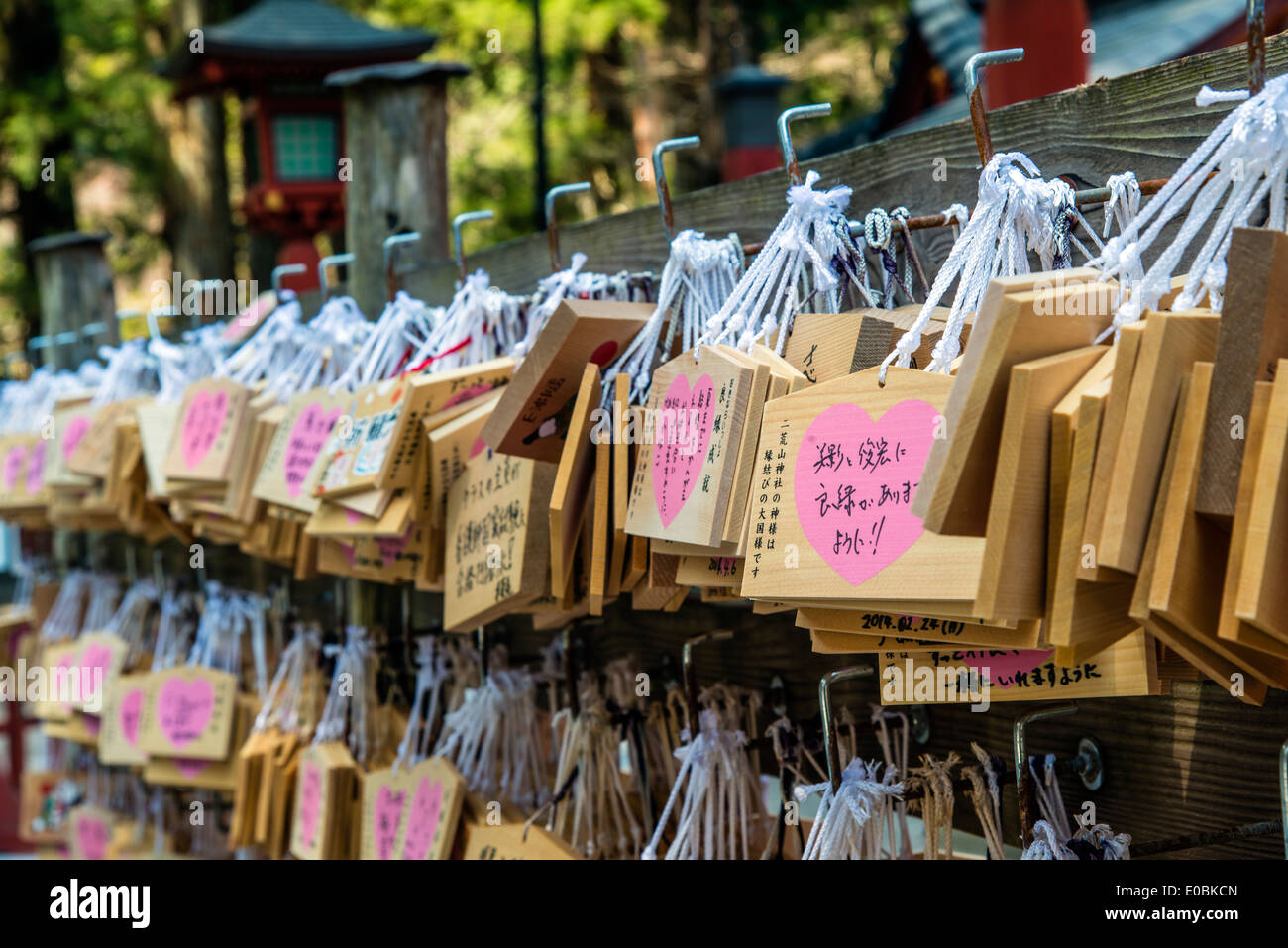 Ema prayer sor wishes wooden plaques hanging from a rack, Taiyuin-byo Temple, Nikko, Tochigi Prefecture, Japan - Stock Image