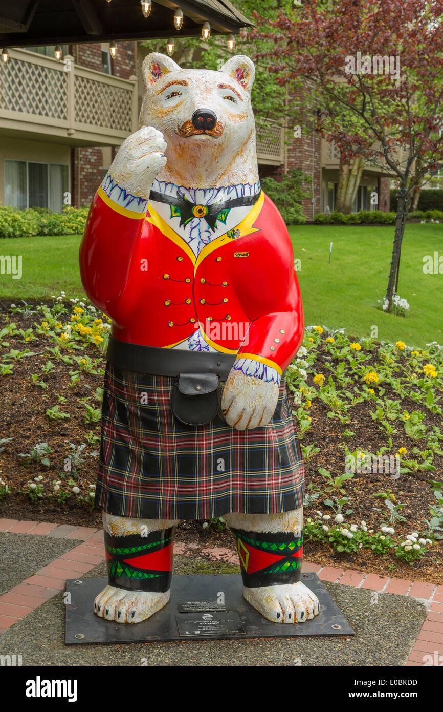 Bear mascot of Royal Scot hotel-Victoria, British Columbia, Canada. - Stock Image