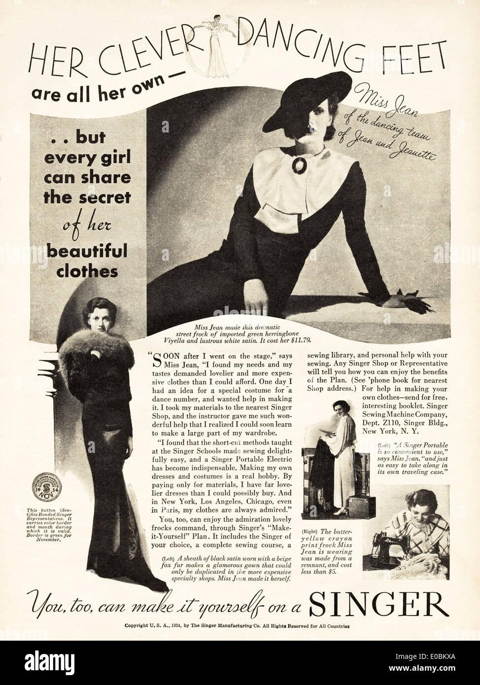 Singer Sewing Advert Stock Photos & Singer Sewing Advert Stock ...
