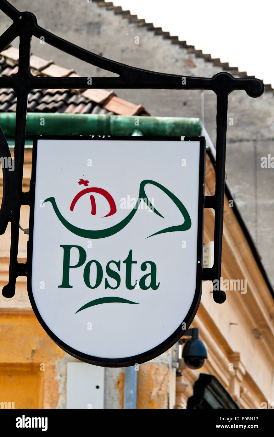 Mailbox of the Hungarian post in Budapest. Hungarian postal office Stock Photo