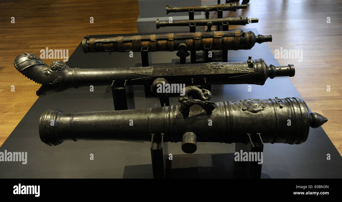 Captured ordnance. Netherlands, 1667 and Southeast Asia, c. 1750-1850. Bronze, cane and bamboo. Rijksmuseum. Amsterdam. Holland. - Stock Image