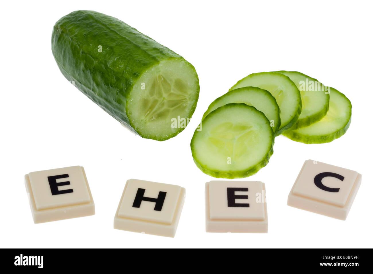 A cucumber as a symbol for the illness EHEC, Eine Gurke als Symbol fuer die EHEC Krankheit Stock Photo