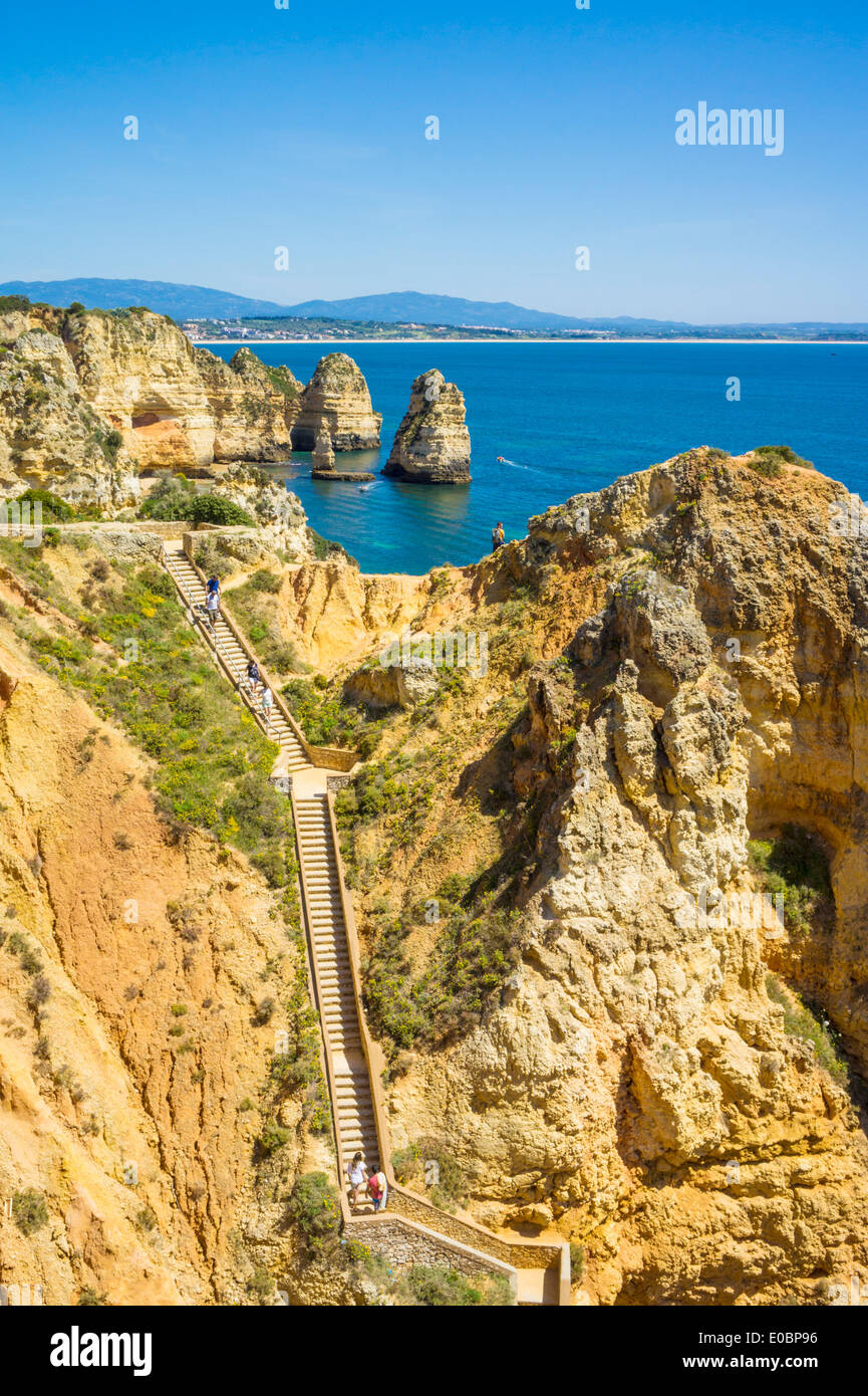 Cliffs at Ponta da Piedade near Lagos Algarve Portugal EU Europe - Stock Image