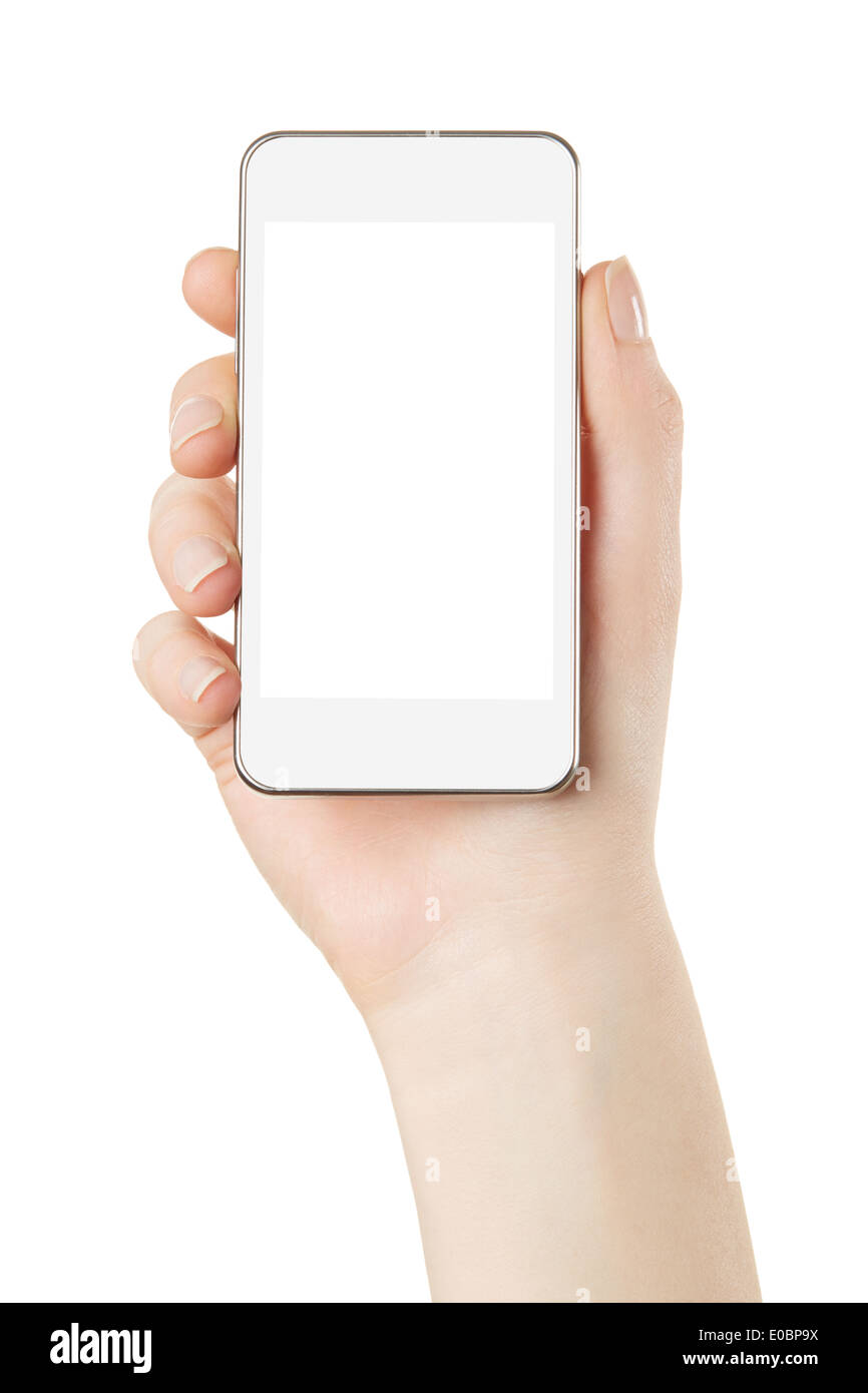 Smartphone in hand with blank screen - Stock Image