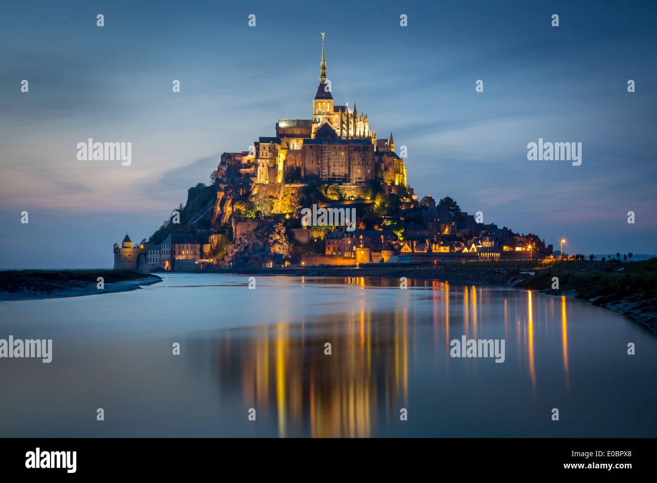 Twilight over Le Mont Saint Michel, Normandy France - Stock Image