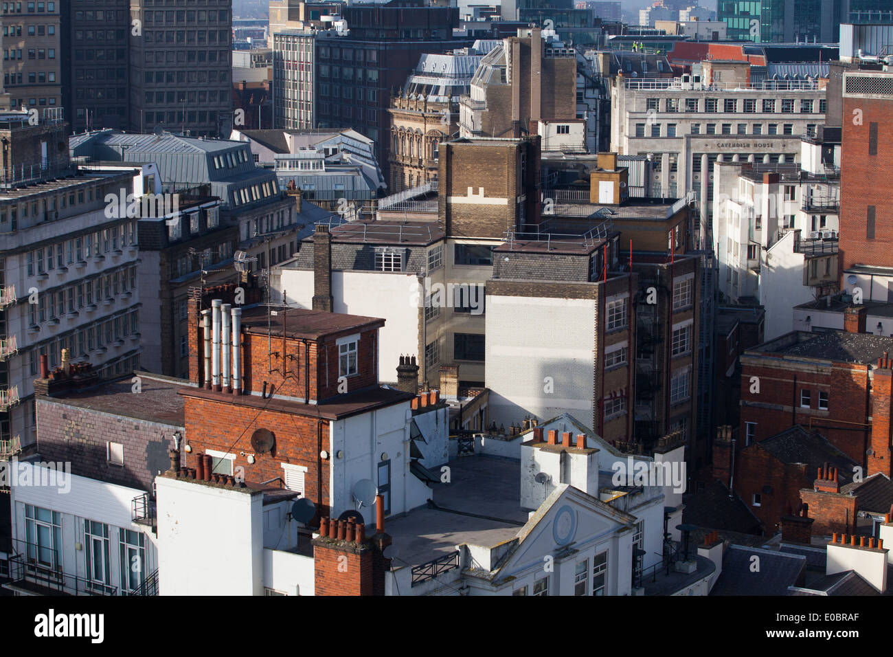 The Urban Sprawl of Birmingham City Centre showing the an area of shops and offices and living accommodation. - Stock Image