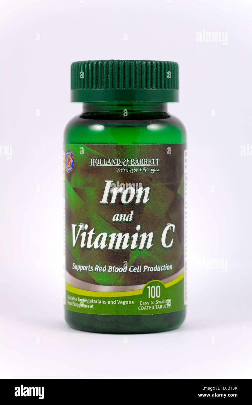 Holland and Barret iron and vitamin c tablets - Stock Image