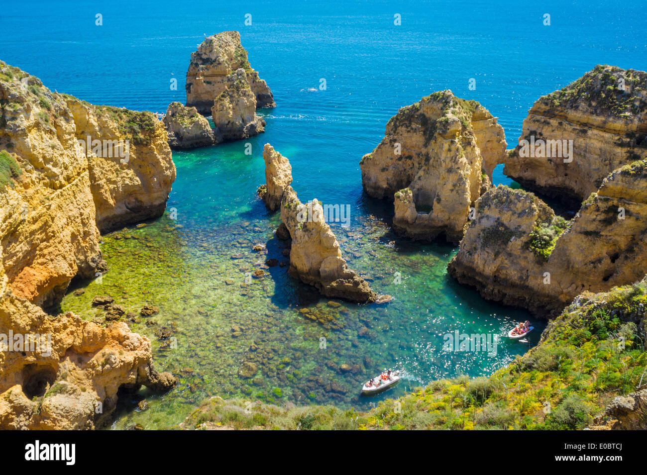 Caves and Rock arches at Ponta da Piedade near Lagos Algarve Portugal EU Europe - Stock Image