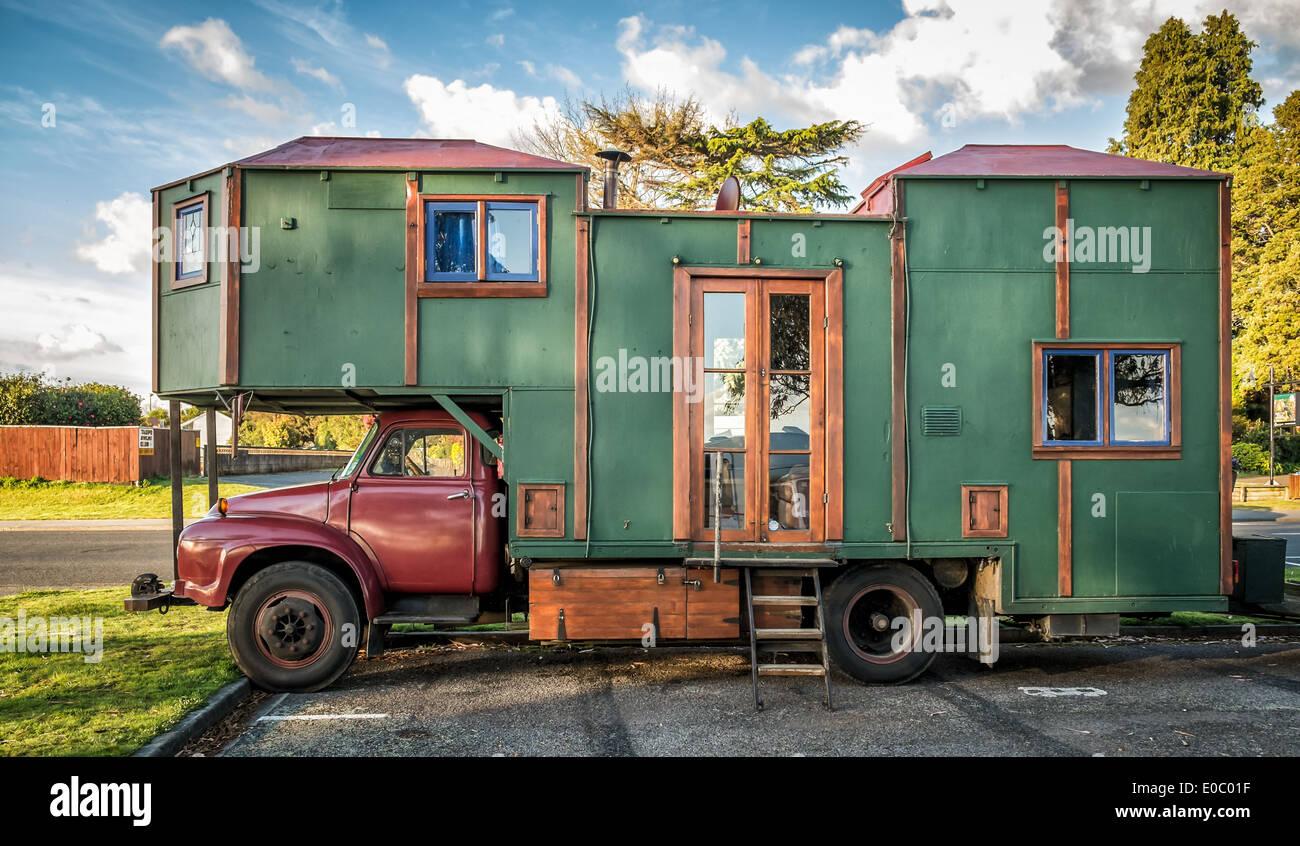 Homemade camper van, Rotorua, North Island, New Zealand