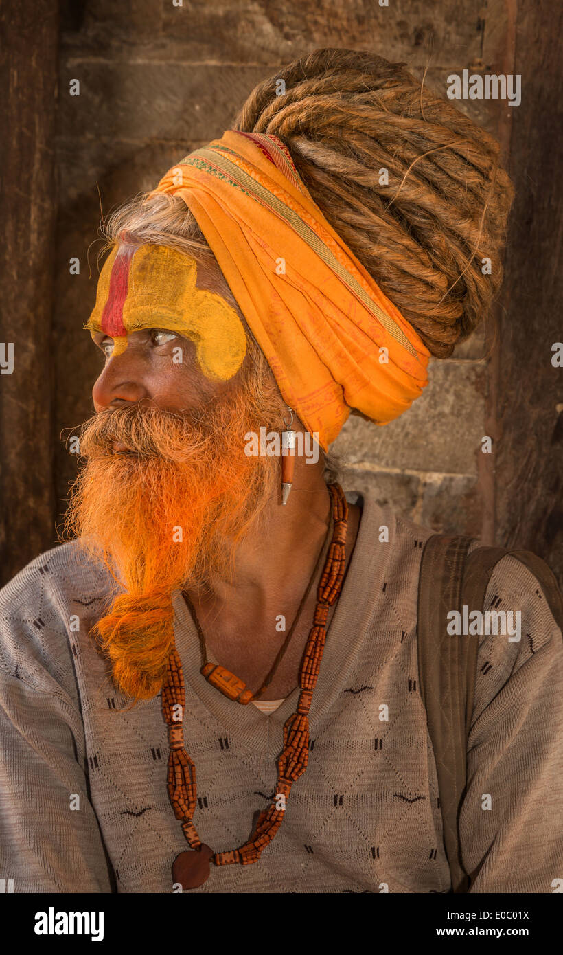 Sadhu, Pashupatinath, Kathmandu, Kathmandu District, Bagmati Zone, Nepal - Stock Image
