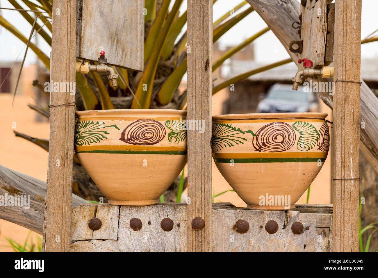 Two earthenware pots in the Desert Camp - Stock Image
