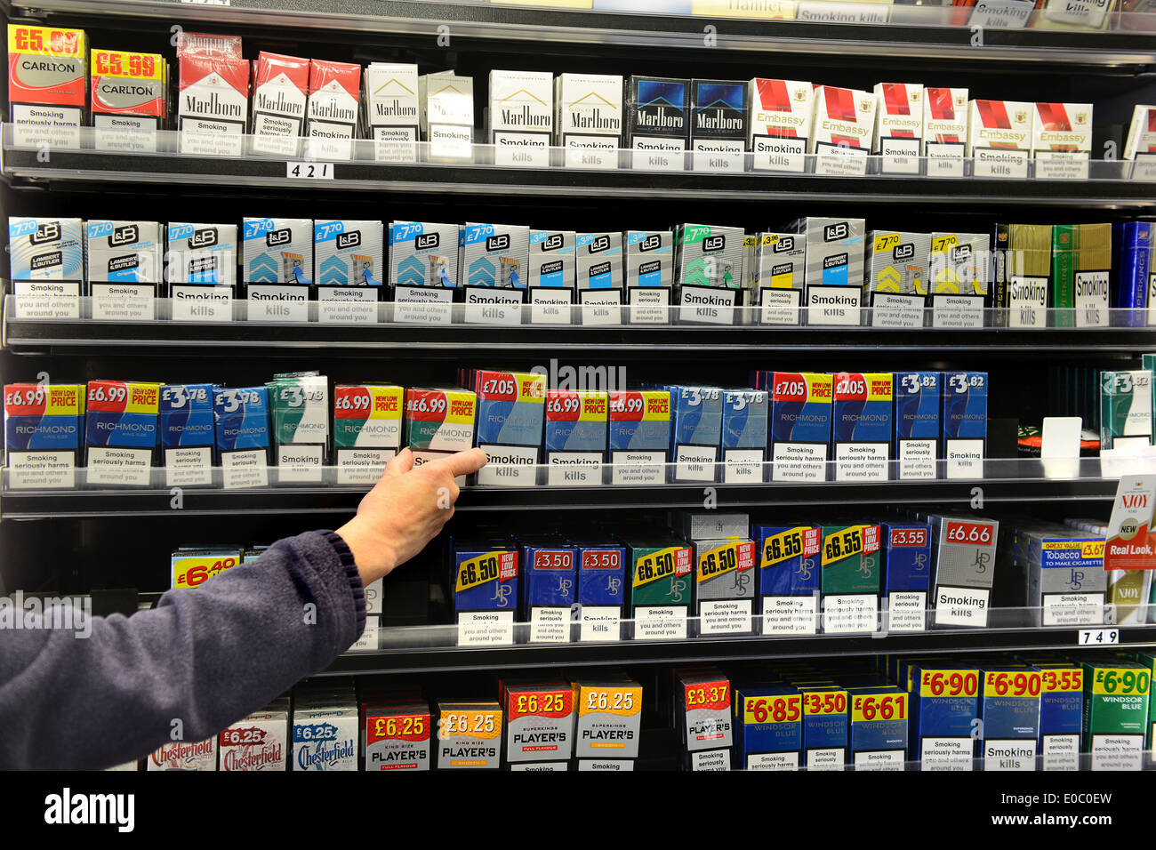 Cigarette tobacco branding brands brand display shop Uk - Stock Image