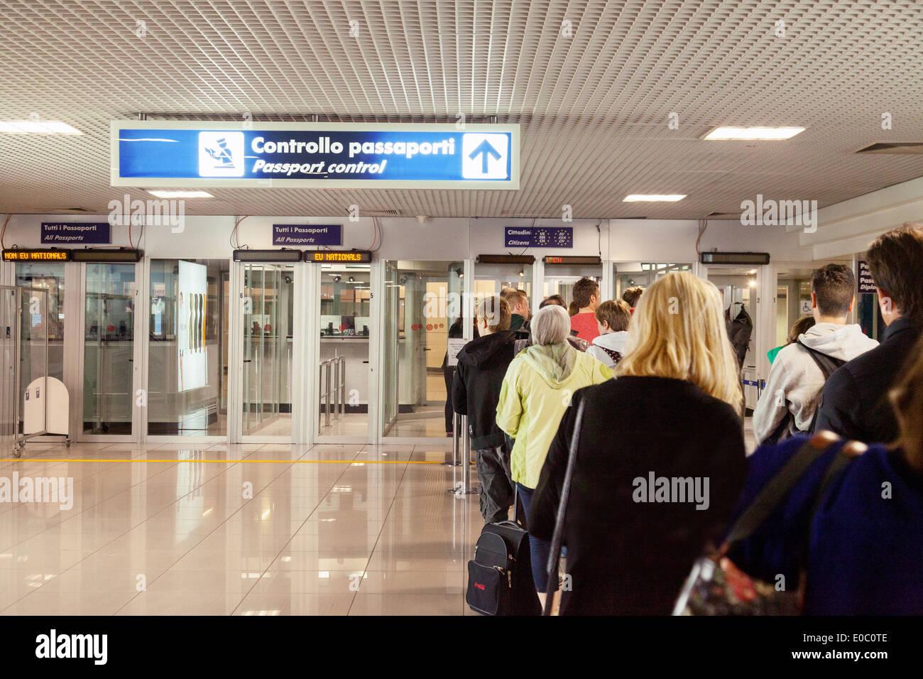 Italian passport control for immigration, Rome Fiumicino airport , Rome Italy Europe - Stock Image
