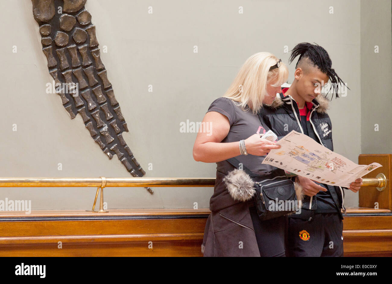 Young couple at the Natural HIstory Museum, with dinosaur bones, UK - Stock Image