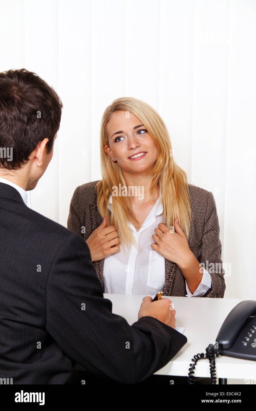 Consultation. Consultation and conversation by advisers and customers., Beratungsgespraech. Beratung und Gespraech durch Berater - Stock Image