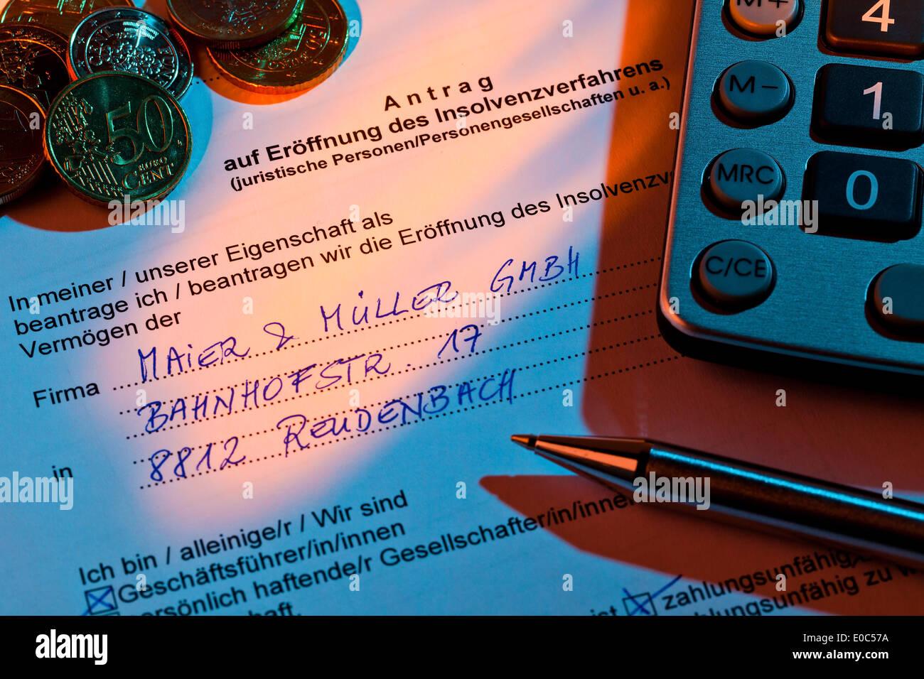 The application for a bankruptcy for enterprise in Germany, Der Antrag fuer einen Konkurs fuer Unternehmen in Deutschland - Stock Image