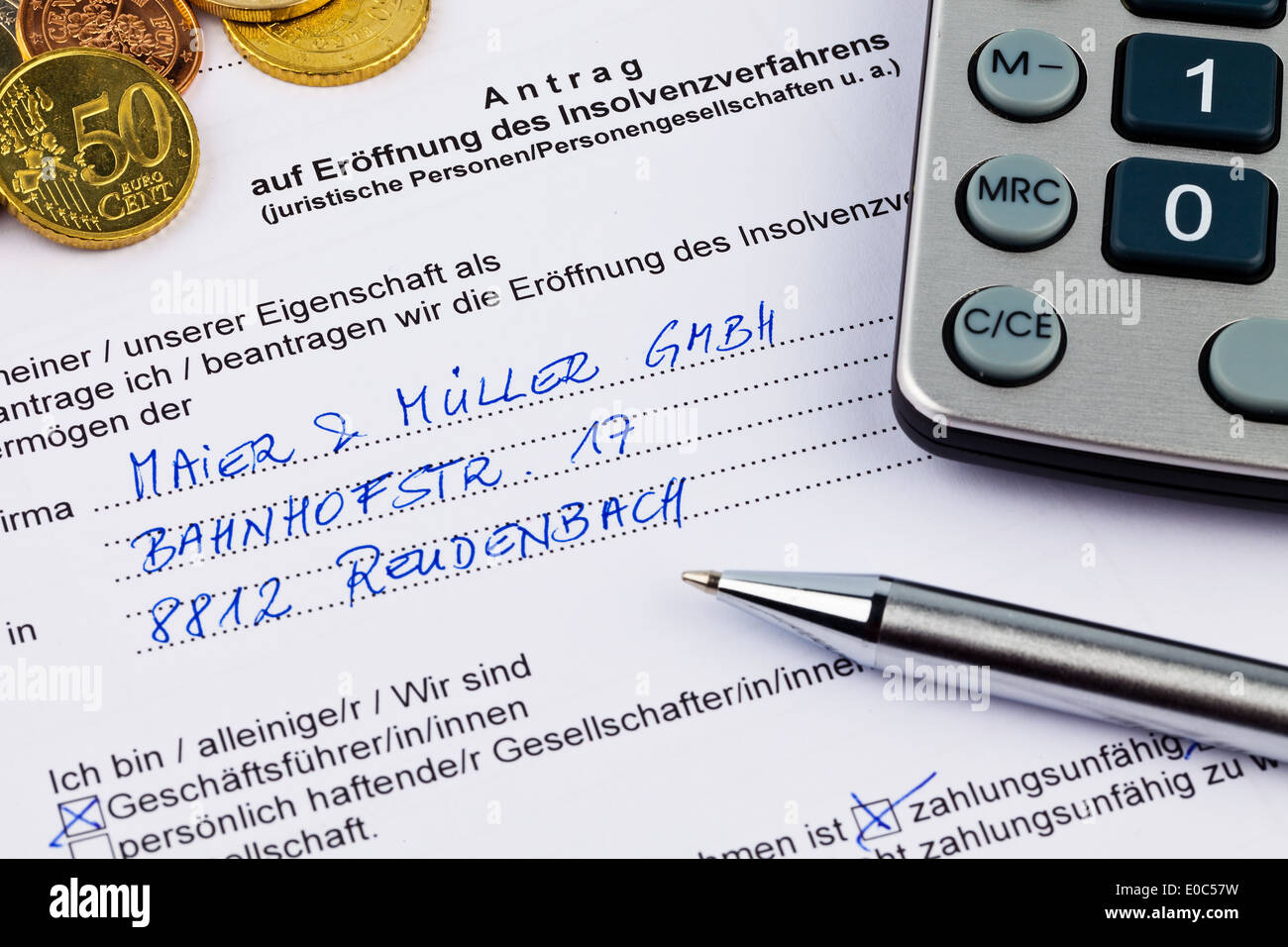 The application for a bankruptcy for enterprise in Germany, Der Antrag fuer einen Konkurs fuer Unternehmen in Deutschland Stock Photo