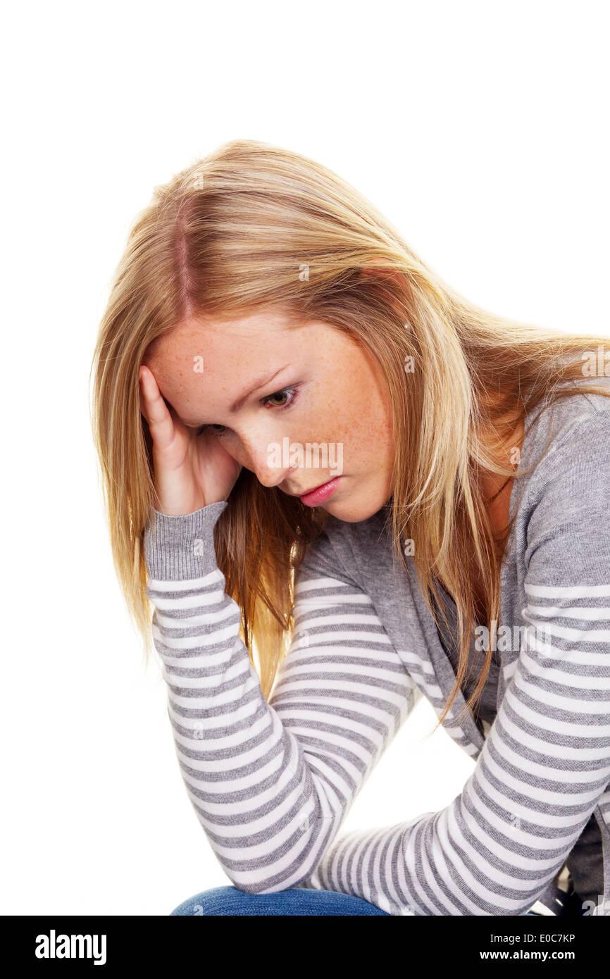 Portrait of a pensive young woman. Worries and problems, Portrait einer nachdenklichen junge Frau. Sorgen und Probleme - Stock Image