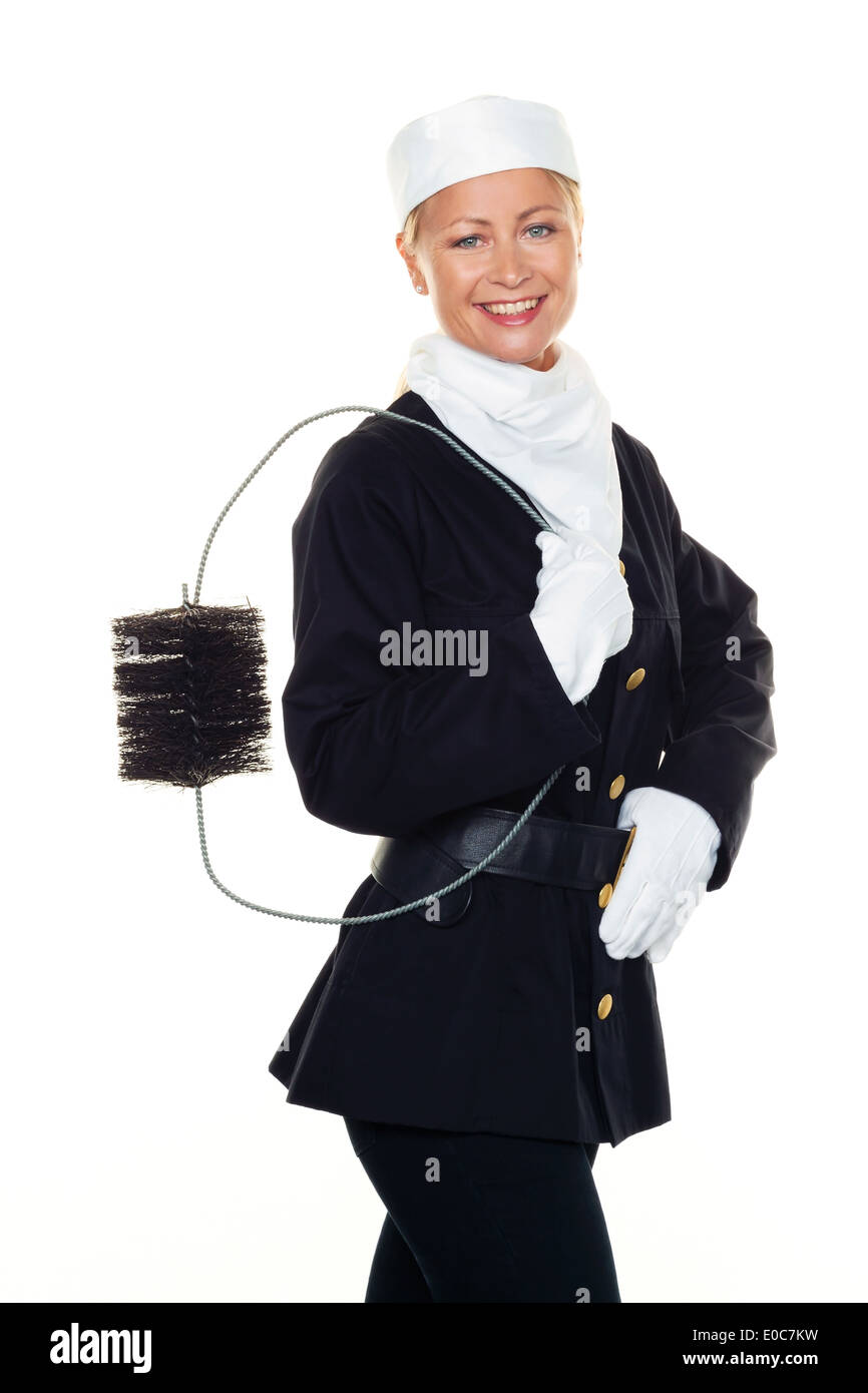 Woman as a chimney sweep. Luck bringer to New Year's Eve and turn of the year., Frau als Schornsteinfeger. Gluecksbringer zu Sil - Stock Image
