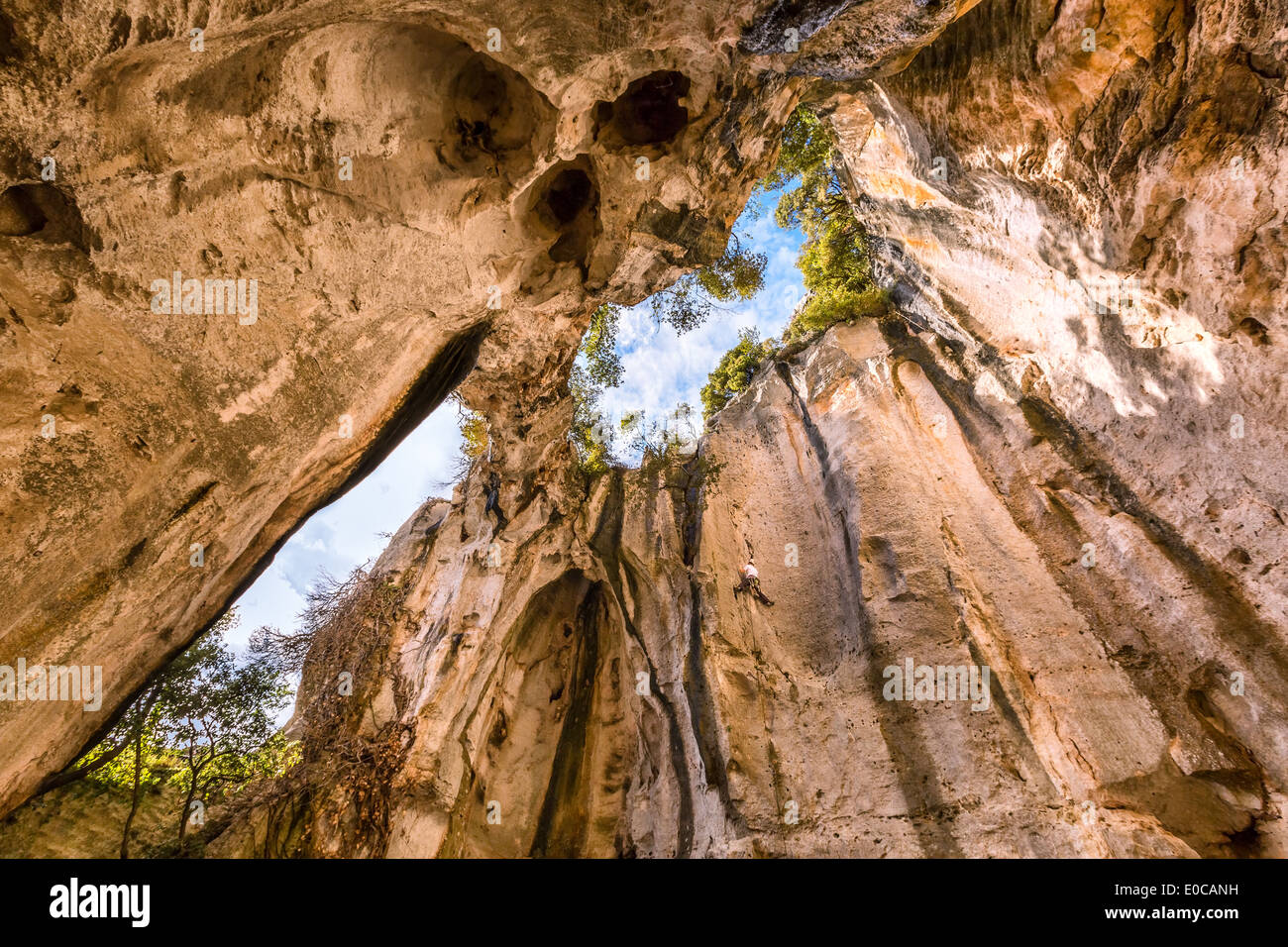 Rock climbing in a cave, Finale Ligure, Italy, EU - Stock Image