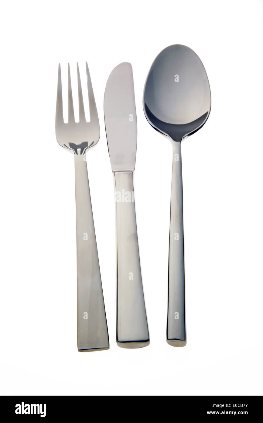 Knife and fork isolates on white background. Free plate, Messer und Gabel isoliert auf weissem Hintergrund. Freisteller - Stock Image