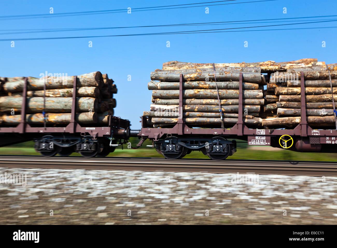 The carriages of a goods train on railway rails. Umweltrfreundlicher transport of goods, Die Waggons eines Gueterzuges auf Eisen - Stock Image
