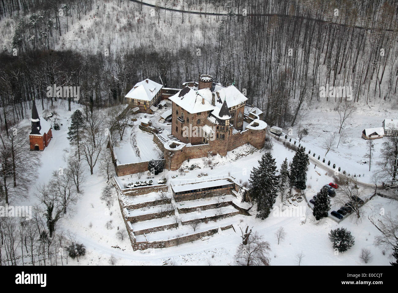 Aerial view of the castle Berlepsch (Hesse, Germany), picture taken at 26.01.2013 from a light aircraft. Stock Photo
