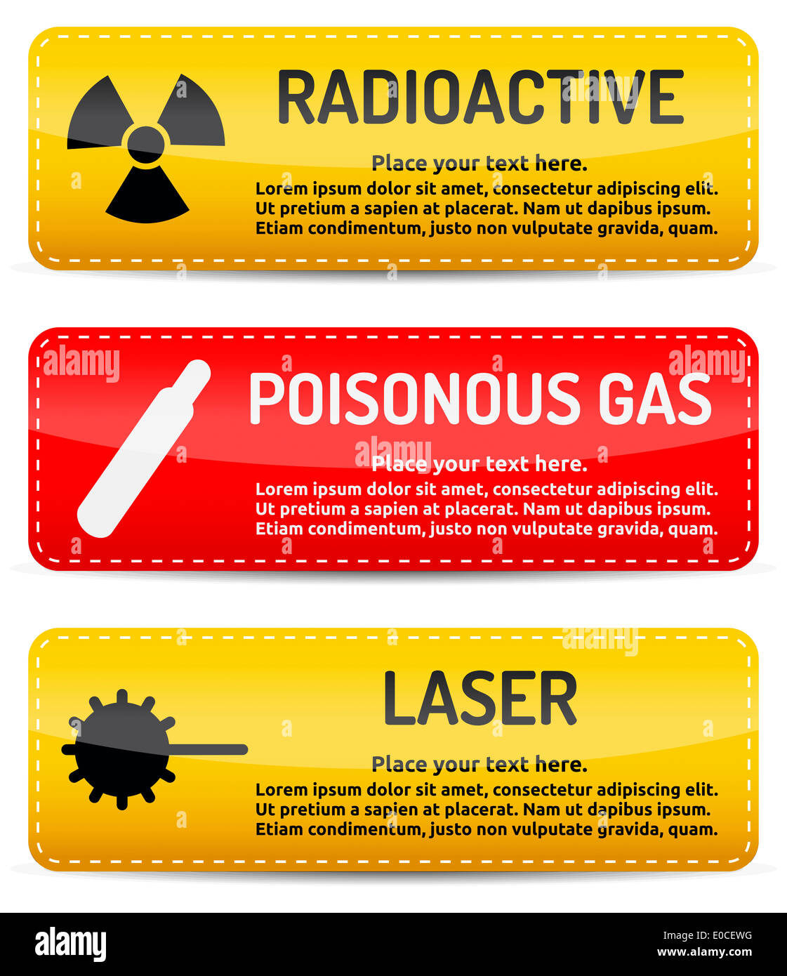 Yellow and red Danger, hazard sign banner template for your text with shadow on white background. - Stock Image