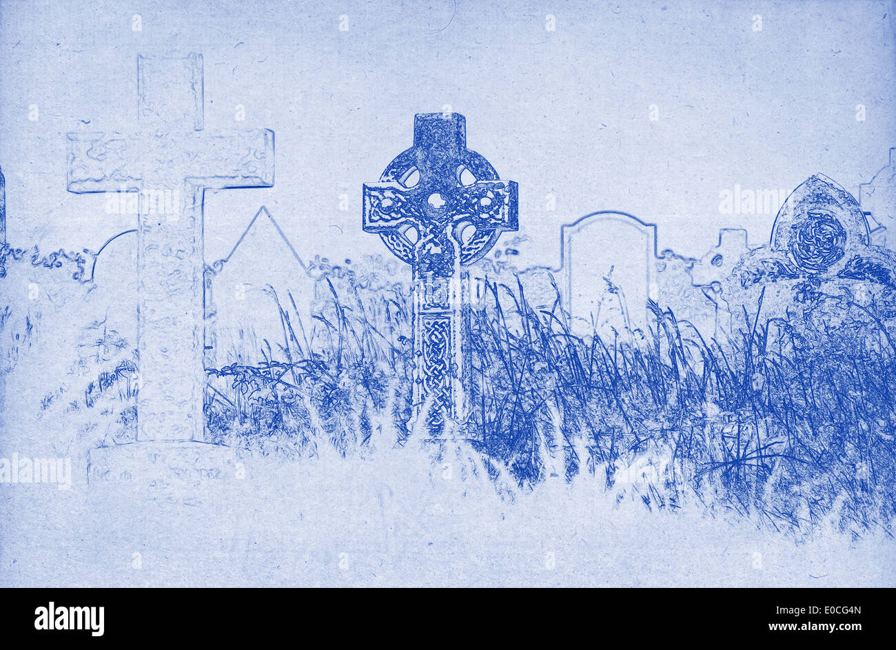 Grungy technical drawing or blueprint illustration on blue grungy technical drawing or blueprint illustration on blue background celtic cross on a graveyard malvernweather Image collections