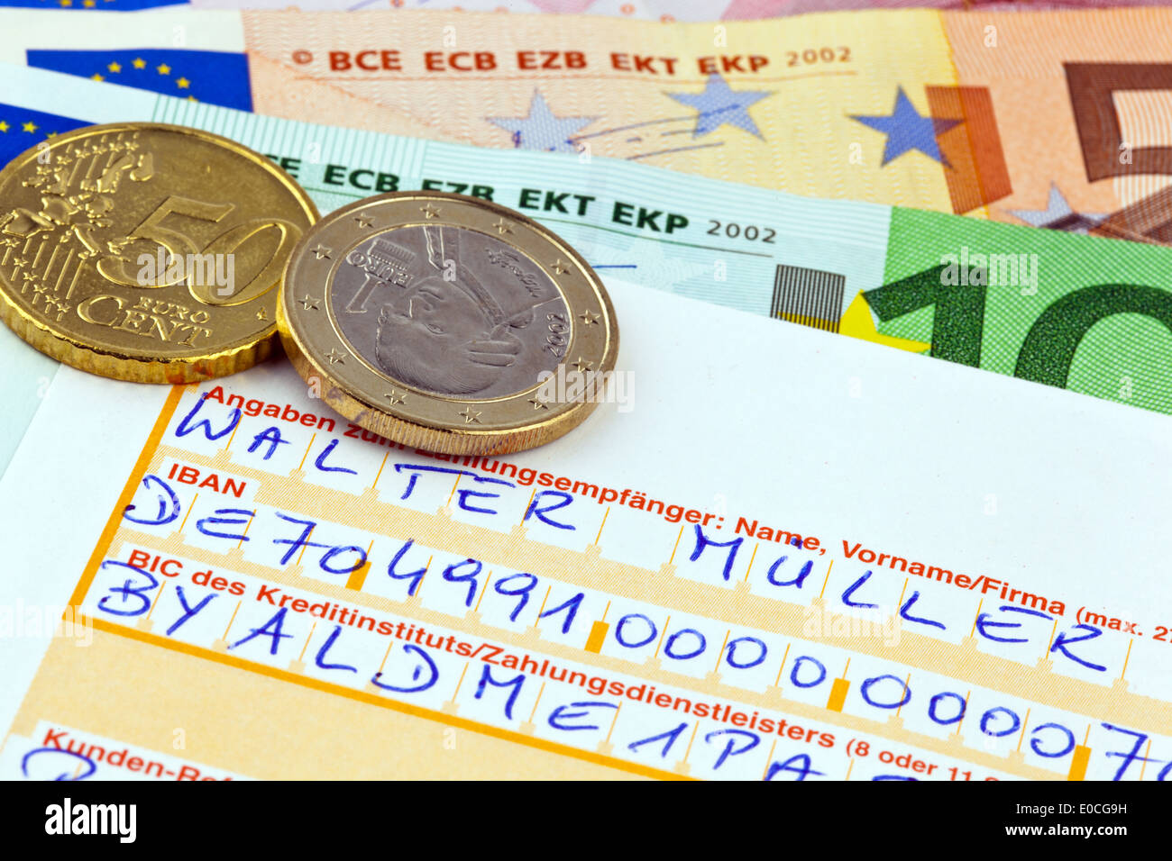 A form for money transfer with number IBAN and code BIC in Germany - Stock Image